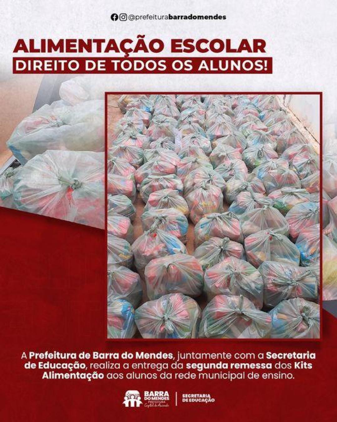 PREFEITURA DE BARRA DO MENDES DISTRIBUI SEGUNDA REMESSA DE MERENDA ESCOLAR
